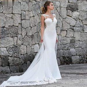 vestido de novia con encaje largo