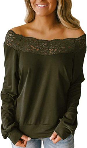 blusa oliva hombros descubiertos