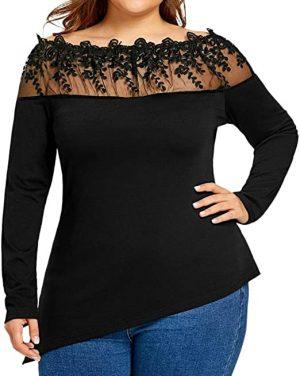 blusa negra borde encaje
