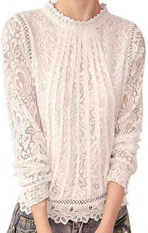 blusa de encaje manga larga