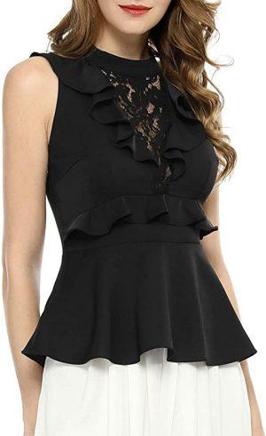 camisa encaje negra