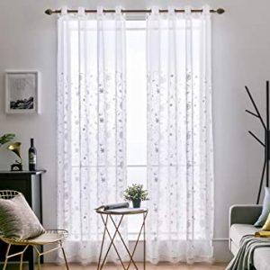 cortina blanca floral de encaje