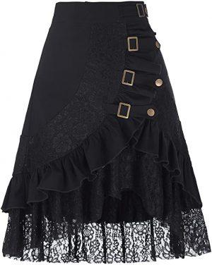 falda vintage negra de encaje