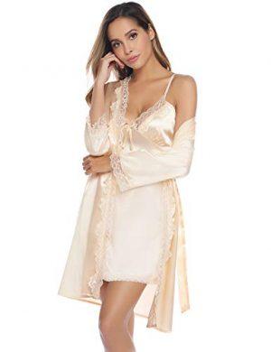 Kimonos Mujer Satén Encaje 2 Piezas,Camisón Satén Sexy Elegante Pijama Cortos para Mujer Novia