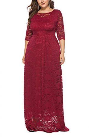 Mujer Vestido de Noche de Encaje Cuello Redondo