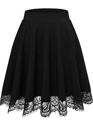 Falda Mujer Mini Corto Elástica Plisada Básica Multifuncional con Encaje Black XL
