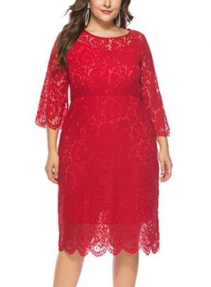 Vestido de Fiesta rojo con Encaje de Mujer Falda Larga