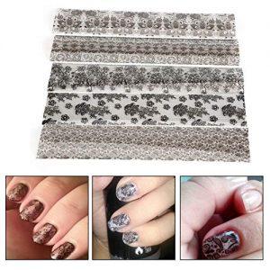 Pegatinas de uñas 20 Unidades Encaje Negro Diseño de Flores