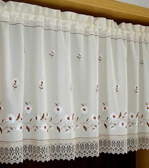Cortinas bordadas con diseño de crisantemo, con borde de encaje
