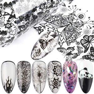 10 piezas de encaje negro arte de uñas pegatinas de transferencia