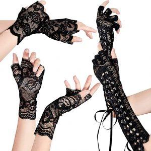 guantes de encaje negros